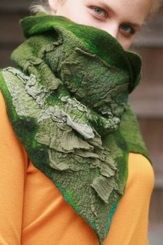 Nuno felted scarves - Felted Scarf - Felt Cowl - Organic texture - Lichen Cowl. $95.00, via Etsy.