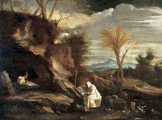 LANDSCAPE WITH TWO CARTHUSIAN MONKS. oil on canvas. 51,3 × 68,2 cm. Provenance : CHRISTIE'S, London, 12 / 12 / 1947, Lot 113, acquired by Sir Denis Mahon. Exhibited : 1989 / 1990, Lugano / Roma, n. 1.14.