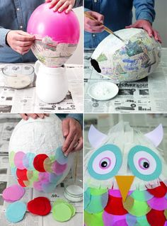 I like but I will do the face a little different. DIY Owl Pinata