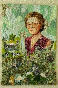 Quilt portrait of my grandmother. Atelier YT, textile mementoes. Ytsje Tilma.This quilt beautifully incorporates many aspects of the subject's life: photos of farm and family, stitched farm animals, her clothing and more.