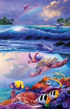The Divers - 1000 piece jigsaw puzzle. Finished size: 19 x 30. Artist: Steve Sundram. Released January 2013.Sunsout puzzles are 100% made in the USAEco-friendly soy-based inksRecycled boardsNot sold in mass-market stores