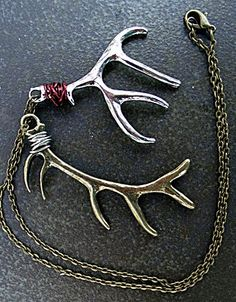 Antler Necklace Deer Silver and Bronze by ElegantEarthtones, $18.00