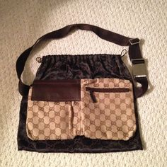 Authentic Gucci Belt Bag/Crossbody Bag Authentic and Original GG canvas belt bag Beige/ebony Original GG canvas Brown leather trim Adjustable waist or shoulder strap with Gucci trademark engraved clip closure Rear zip pocket Double compartments with flap closure and zip closure Gucci Bags Crossbody Bags