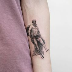 Gallery of single needle tattoos done by professional tattooers that can be filtered by subject, body part and size. Leg Tattoos, Body Art Tattoos, Small Tattoos, Girl Tattoos, Sleeve Tattoos, Tattoos For Guys, Atlas Tattoo, Poseidon Tattoo, Trident Tattoo
