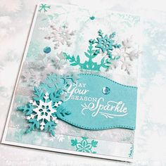 Christmas Cards 2018, Stampin Up Christmas, Holiday Greeting Cards, Xmas Cards, Greeting Cards Handmade, Diy Cards, Snowflake Cards, Christmas Snowflakes, Embossed Paper