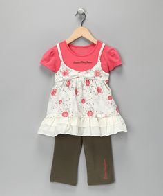 Pink Layered Tunic & Leggings - Toddler #zulily #fall  love the colors and layers