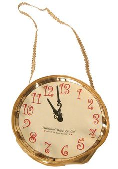 The Alice in Wonderland clock purse is a great accessory for kids Alice costumes and adult sexy Alice costumes alike.  The clock handbag holds your stuff!