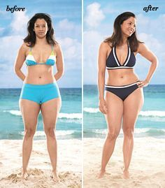 PEAR SHAPED WOMEN: If you want to slim the hip: Don't go wild on bottom. The less going on there, well—the less going on there! Do bring focus up with a top in a lighter color, or with fun details or a pretty pattern. Do go for a fairly high-cut bottom to create the illusion of longer, leaner legs.