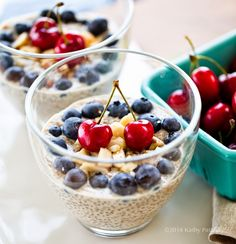 Cherry Berry Chia Seed Pudding, (Breakfast - use almond milk, fresh blueberries and if no quality frozen cherries available, change the name and use another fresh berry  {includes Recipe VIDEO}