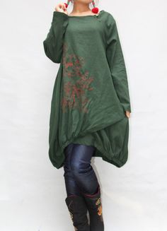 Women autumn dress/ loose linen dress/ blouse shirt In by MaLieb, $92.00
