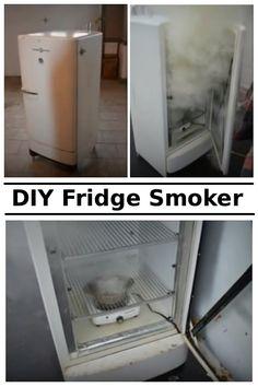 DIY Old Fridge Smoker #diy #repurpose Build A Smoker, Gas Smoker, Bbq Pit Smoker, Outdoor Oven, Outdoor Cooking, Outdoor Kitchens, Backyard Smokers, Old Refrigerator, Charcoal Smoker