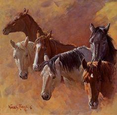 by Wayne Baize Watercolor Paintings Of Animals, Animal Paintings, Horse Paintings, Horse Drawings, Animal Drawings, Native American Horses, Horse Artwork, Cowboy Art, Horse Print