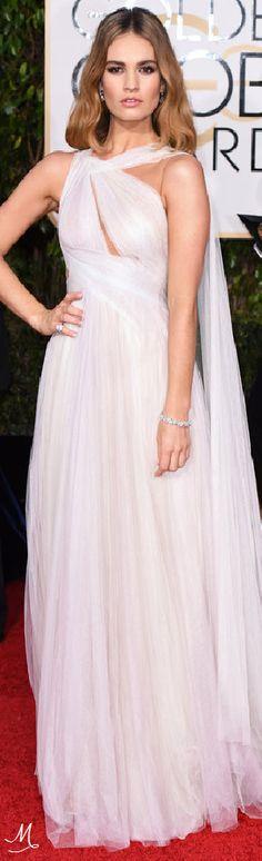2016 Golden Globes Red Carpet Arrivals   Lily James in Marchesa.