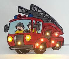 Schlummerlampe Feuerwehrauto leuchtend