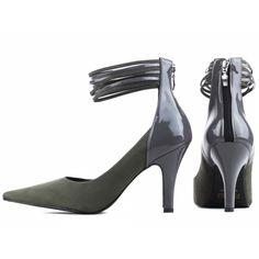 f8829af50f Sapato Scarpin feminino fechamento Ziper traseiro Cor Cinza
