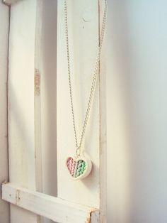 Ombre die rosa-Mint aus Herz Halskette Polymer von MyMiniMunchies