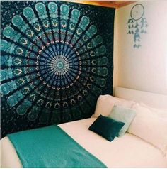 Indian Mandala Tapestry Hippie Wall Hanging Blue Bohemian Bedspread Dorm Decor .