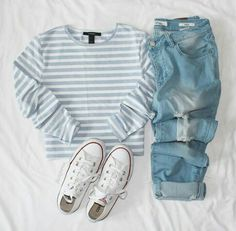 ❥ // Shop the Look Young Mom Outfits, Summer Outfits Men, Cute Outfits, Jeans And Converse, Outfits With Converse, Light Blue Jeans, Fashion Outfits, Womens Fashion, Style Fashion