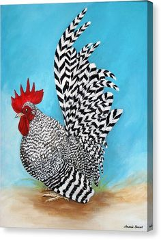 Beautiful Chickens, Beautiful Birds, Animals Beautiful, Rooster Painting, Rooster Art, Rooster Images, Bantam Chickens, Chickens And Roosters, Chicken Painting