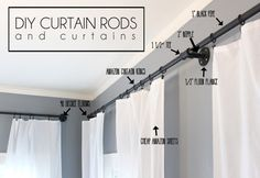 Ashes + Ivy at home DIY Industrial Curtain rods extra long DIY curtains Extra Long Curtain Rods, Cheap Curtain Rods, Outdoor Curtain Rods, Pipe Curtain Rods, Extra Long Curtains, Window Curtain Rods, Outdoor Curtains, Curtains For Long Windows, Curtain Rod Brackets
