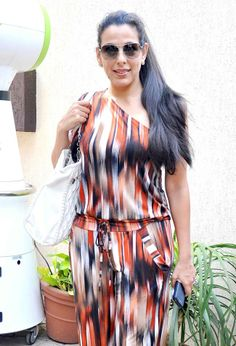 Pooja Bedi looked smart in a printed jumpsuit. #Style #Bollywood #Fashion #Beauty #Page3