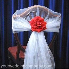 Chair cover alternate idea - roll of tulle, small ribbon, silk flower