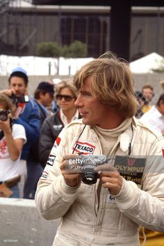 James Hunt, British racing driver who won the Formula 1 World Championship in 1976. Photographed with Olympus camera 1970s.