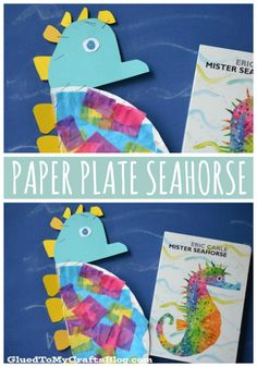 Rainbow Colored Paper Plate Seahorse Kid Craft Tutorial - inspired by one of our favorite children's book authors, Eric Carle. Kindergarten Crafts, Preschool Learning Activities, Preschool Lessons, Preschool Activities, Diversity Activities, Letter S Crafts, Book Crafts, Seahorse Crafts, Art For Kids