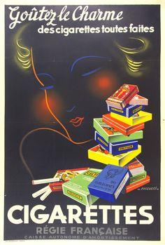 "Cigarettes / Origin: France - c. 1935 / Artist:  Falcucci /  31 x 46 in (79 x 117 cm) / ""Taste the charm of ready-made cigarettes French Economy """