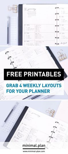 Grab 4 free weekly planners printables. Undated weekly planner for your organizer or bullet journal / free printables, free planner printables, undated planner, weekly planner