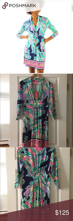 "Lilly Pulitzer🌺Margate-Don't Leave Me Hanging NWT Lilly Pulitzer 🌺🌴 Margate Dress in Don't Leave Me Hanging. Size Medium. Brand new with tags. Super flattering 💃🏻 Printed V-Neck Dress With 3/4 Sleeves And Elasticized Waistline With Pin Tucking Detail. 20"" From Natural Waist To Hem. Rayon Spandex Jersey - Printed (96% Rayon, 4% Spandex). Lilly Pulitzer Dresses"