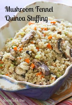 Mushroom Fennel Quinoa Stuffing - pinner says.This savory quinoa stuffing is a delicious, protein-packed, gluten-free alternative to traditional stuffing. Cooking Tips, Cooking Recipes, Cooking Food, Vegetarian Recipes, Healthy Recipes, Detox Recipes, Side Dish Recipes, Side Dishes, Thanksgiving Recipes