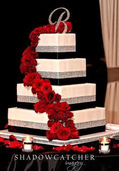 White Wedding Cakes My Photo Album Wedding Flowers Photos on WeddingWire - Black Red Wedding, Red Bouquet Wedding, Black Wedding Cakes, Red Black Weddings, Silver Weddings, Orange Wedding, Indian Weddings, Unique Weddings, Wedding Flower Photos