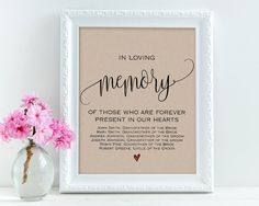 In Loving Memory Wedding Signs Personalized Sign Printables Editable Text PDF Template WSET5