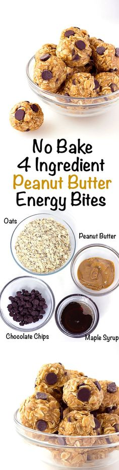 No-Bake Peanut Butter Energy Bites No Bake 4 Ingredient Energy Bites - A quick and easy make ahead snack for on the go! Energy balls with peanut butter and chocolate chips! No Bake 4 Ingredient Energy Bites - A quick and easy make ahead snack Breakfast Recipes, Snack Recipes, Cooking Recipes, Healthy Recipes, Breakfast Cookies, Breakfast Healthy, Breakfast Bake, Breakfast Casserole, Easy Cooking