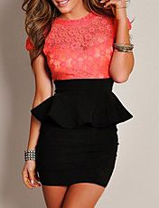 Celestial Coral Floral Lace Black Peplum Dress from Sexy Dresses. Shop more products from Sexy Dresses on Wanelo. Lace Peplum Dress, Sexy Lace Dress, The Dress, Bodycon Dress, Black Peplum, Ruffle Blouse, Cheap Dresses, Sexy Dresses, Fashion Dresses