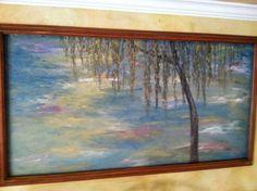 Monet inspired mural framed in recycled frame.
