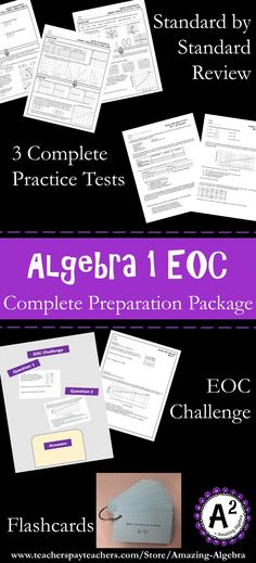 The Complete Algebra 1 EOC Preparation Package: This is a bundle of all my EOC/FSA review products! It includes the flashcards, standard by standard review, 3 complete practice tests (180 EOC/FSA type questions total), and the EOC challenge (additional 60 EOC/FSA type questions). Click to check it out at my TpT Store! Algebra Help, Maths Algebra, Classroom Resources, Math Classroom, Interactive Journals, Algebraic Expressions, Writing Classes, Test Prep, Girl Stuff