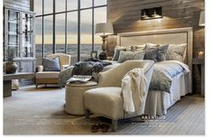 Blue textiles gives your home a calm look Interior Design, Furniture, Living Room, Home Goods, Bed, Home, Bedroom, Home Decor, Room