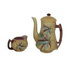 Image of Majolica Coffee Pot & Creamer