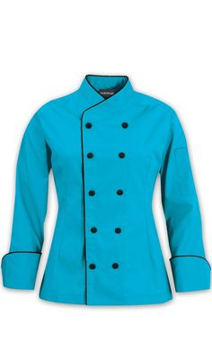Women's Imperial Chef Coat - Contrast Piping - 65/35 Poly/Cotton $27.99 http://www.chefuniforms.com/chef-coats/womens-chef-coats/87515-womens-chef-coat.asp?frmcolor=ocbla