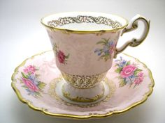 Pink Foley Tea cup and saucer set, E.B. Foley Textured  tea cup and saucer, Floral Bouquet on Pink