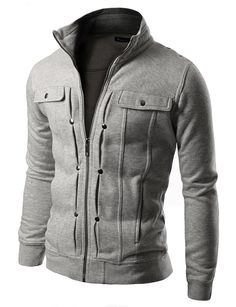 Doublju Mens Highneck Zip Up Jacket GRAY (US-XS)