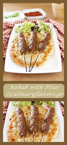Ground Meat Kebabs with Pitas | Juicy, tender kebabs served with pitas and sauces | Side with some roasted veggies