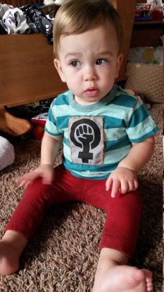 Unisex FEMINIST Striped Child Tee - Child Bathe Present Hand-Stitched Patch Cute Punk Rock Boy Riot Grrrl Teal Stripes Blue Inexperienced Orange T-Shirt. >>> Discover more at the photo link Learn more at  https://www.etsy.com/listing/253208604/unisex-feminist-striped-baby-tee-baby?utm_source=Pinterest&utm_medium=PageTools&utm_campaign=Share
