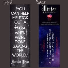Marissa Meyer bookmark contest entry by Amanda.