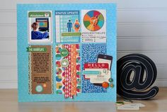 2014 VIDEO  include social media updates and status reports in a layout you create a grid-design layout. This layout incorporates both stamping, and layered items. You can watch her start-to-finish scrapbook process video to learn more about this layout here...