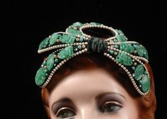 Bes-Ben Vintage Woman's Hat Chicago Fabulous Whimsical Green Jade Like