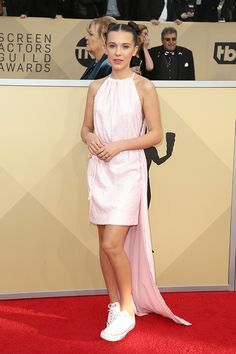 #Millie #Bobby #Brown #Looks #Pretty In #Pink On The #Sag #Awards #Red #Carpet