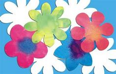 Color Diffusing Flower (pack of 80) - Four flower shapes cut from color diffusing paper.